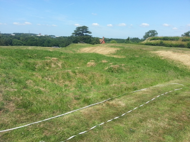 Its very difficult to photograph such a large expanse of grass, but this is an attempt at showing the whole trench site.