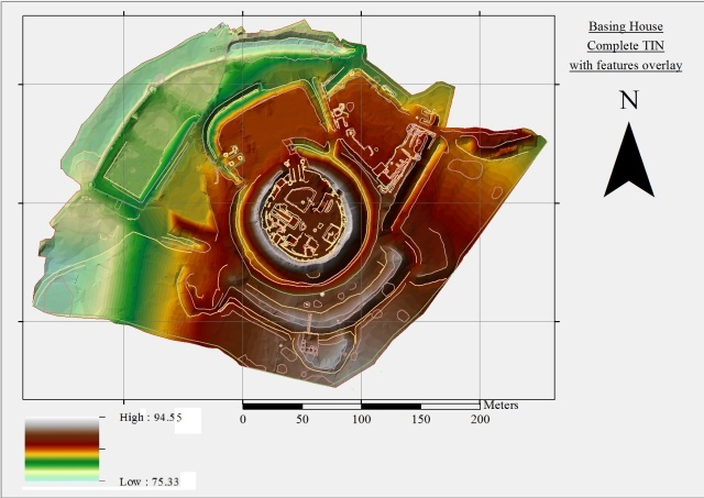 Figure 3 - Basing House complete TIN with features overlain. ArcGIS 10.1