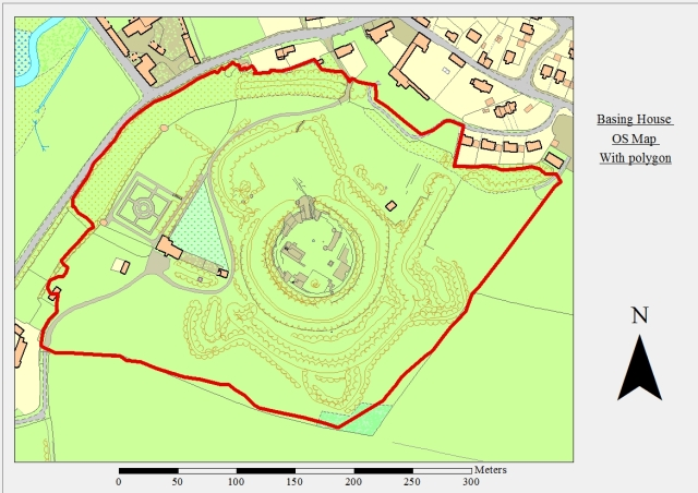 Figure 1 - OS Map data with a polygon overlaid (red line). The polygon represents the extent of the area surveyed topographically. ArcGIS 10.1. © Crown Copyright/database right 2013. An Ordnance Survey/EDINA supplied service.