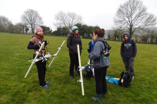 Figure 1: Shows the fluxgate gradiometer being used during the spring survey season by the University of Southampton.