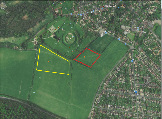 Figure 2: Planned survey area [Area A indicating the first area to be surveyed, which will extend westwards into survey area B].