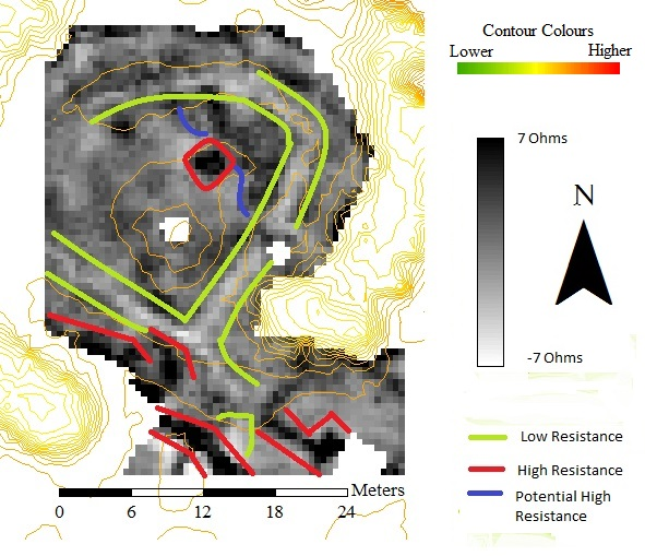 Figure 2 - Resistivity Survey of part of the motte interior. Notable features are enclosed by coloured lines. Negative ohm values caused by the high pass filter. Contours from a raster. ArcGIS 10.1.