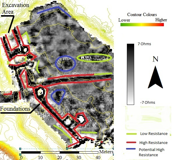Figure 4 - Resistivity Survey of the New House area. Notable features are enclosed by coloured lines. Negative ohm values caused by the high pass filter. Contours from a raster. ArcGIS 10.1.
