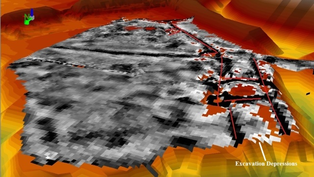 Figure 5 - New House resistivity plot draped over the 3D TIN. Red lines show features with associated topographic variations. From the north. Light from the east at 45 degrees. Vertical exaggeration at 1.5. ArcGIS 10.1.