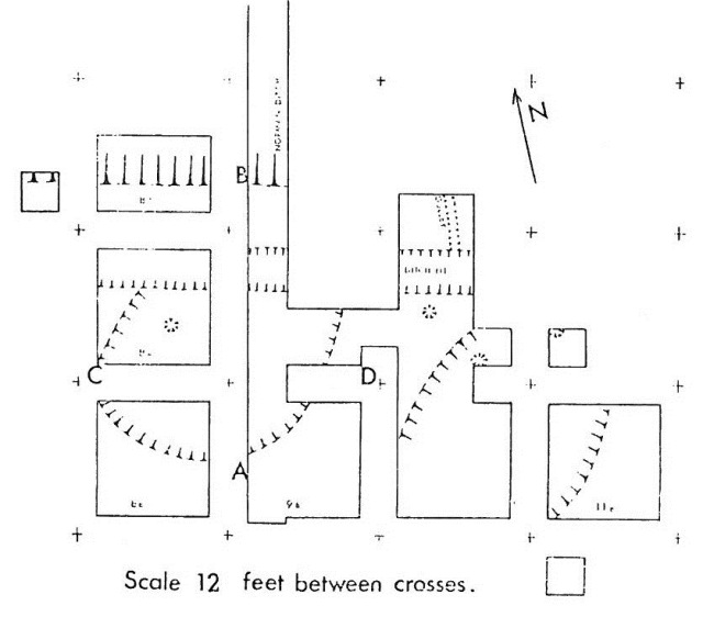 Site plan showing the box grid. From Combley, Notman, Pike, 1964 report.