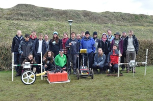 Some of the staff and students from the Department of Archaeology working at Basing House in April 2013