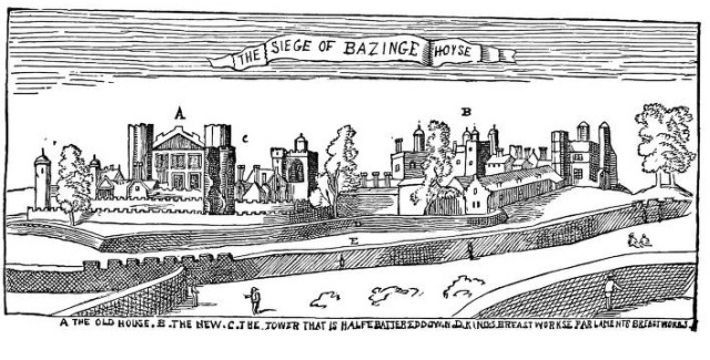 Figure 6 - Wenceslaus Hollar's 'The Siege of Basing House'. The text reads 'A THE OLD HOUSE. B. THE NEW. C. THE TOWER THAT IS HALFE BATTERED DOWN. D. KINGS BREASTWORKS. E. PARLAMENTS BREASTWORKS' [sic]. After (Wikipedia 2013)